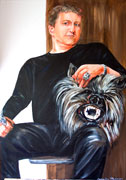Painting of man with wolfs head on lap - acrylic on canvas